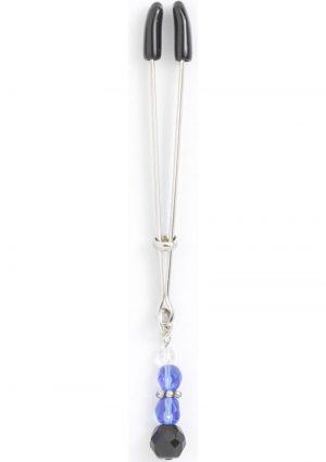 Beaded Clit Clamp With Tweezer Tip Blue