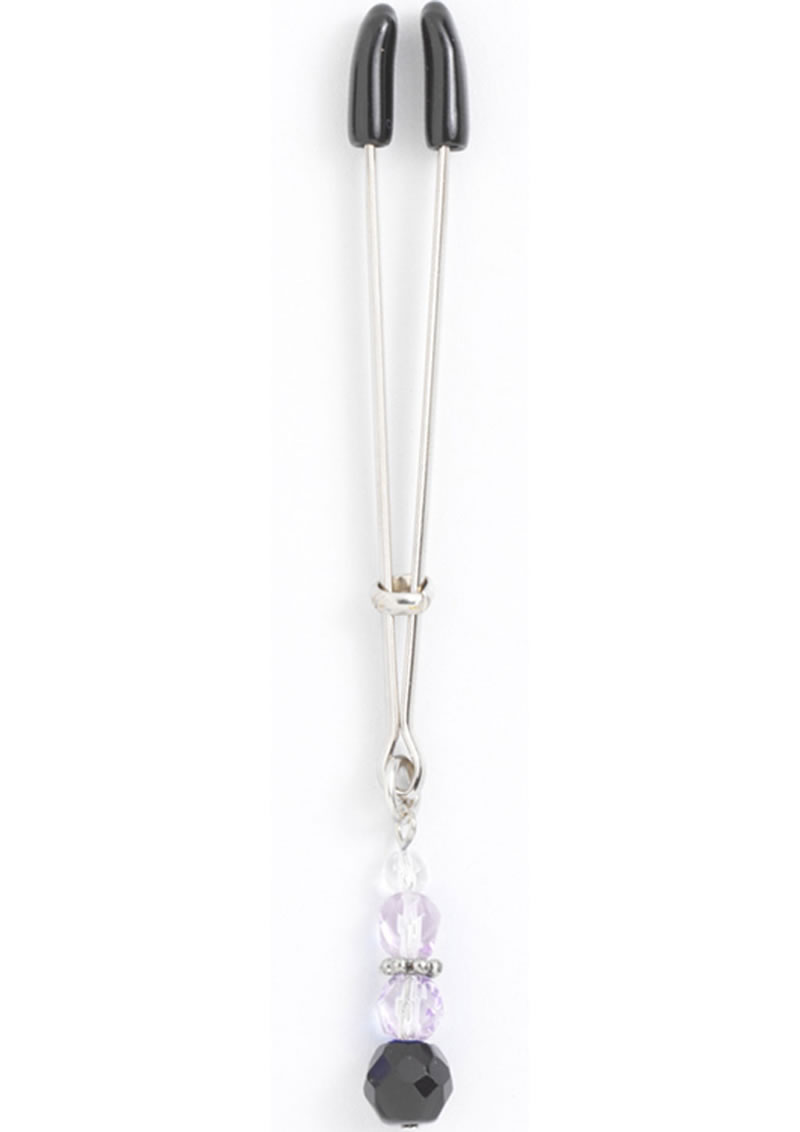 Beaded Clit Clamp With Tweezer Tip Purple