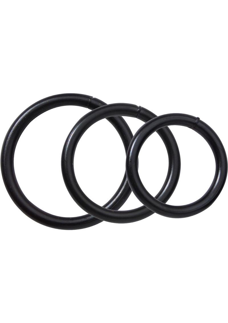 Metal Cock Ring Set 3 Sizes Per Pack Black