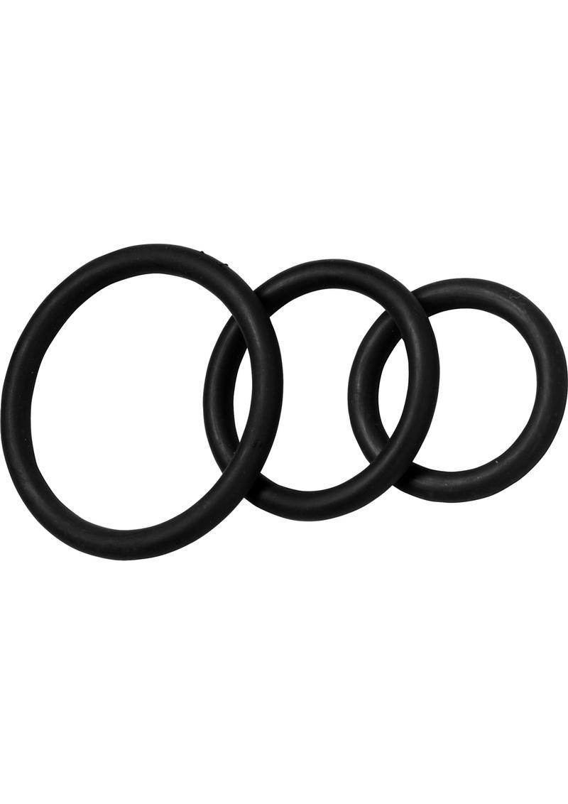 Nitrile Cock Ring Set 3 Sizes Per Pack Black