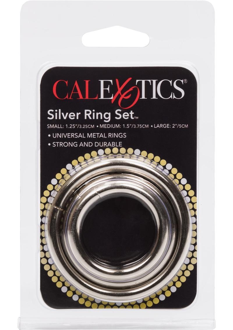 Silver Cock Rings 3 Piece Set Silver