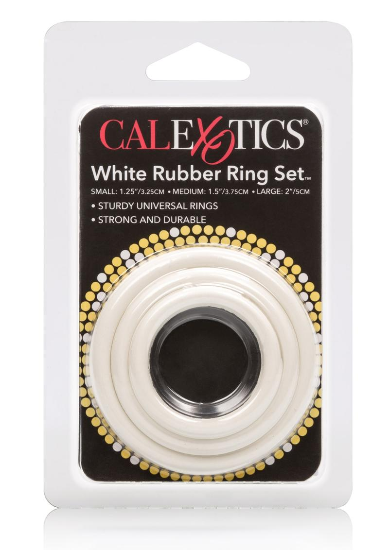 Rubber Cock Rings 3 Piece Set White