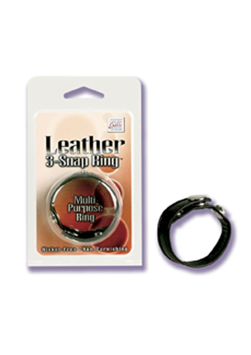 Leather 3 Snap Ring Adjustable Multi Purpose Ring