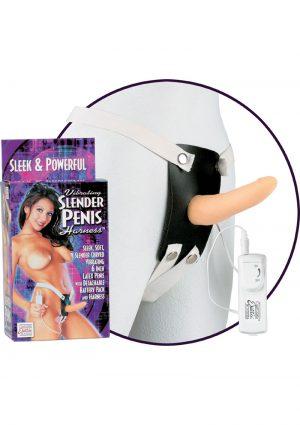 Vibrating Slender Penis Harness 6 Inch Flesh