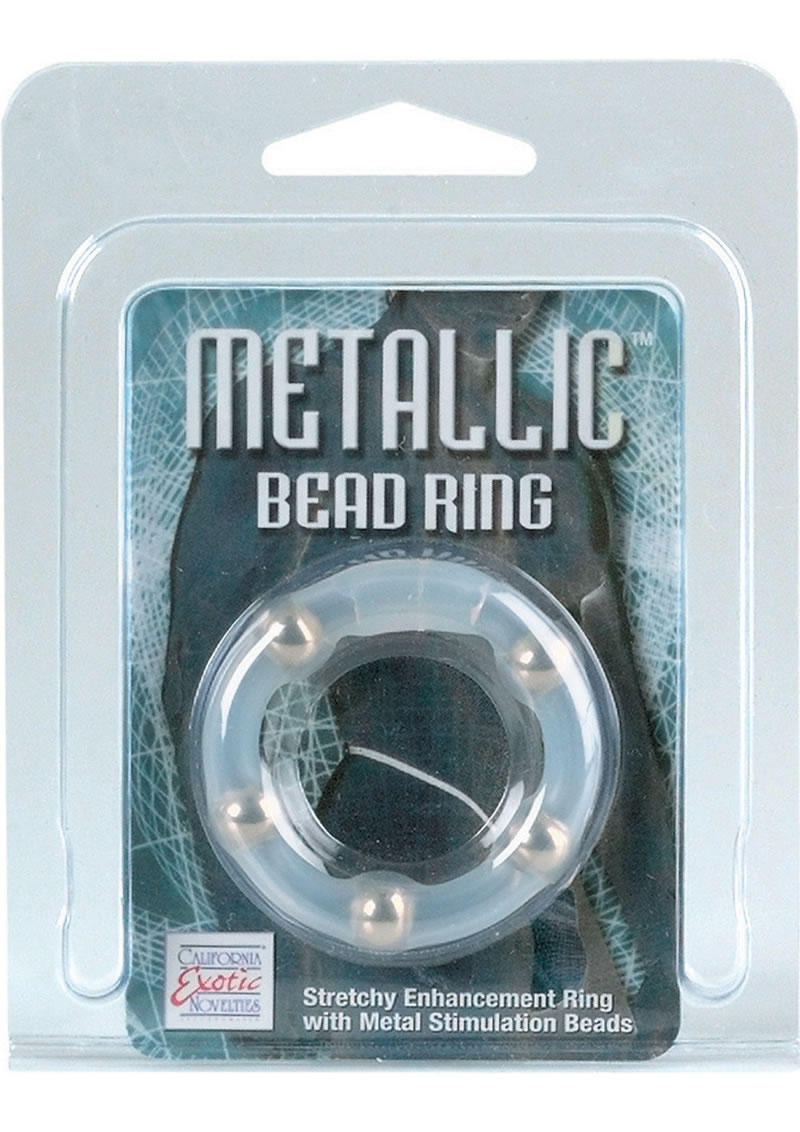 Metallic Bead Ring Silicone Cock Ring Clear