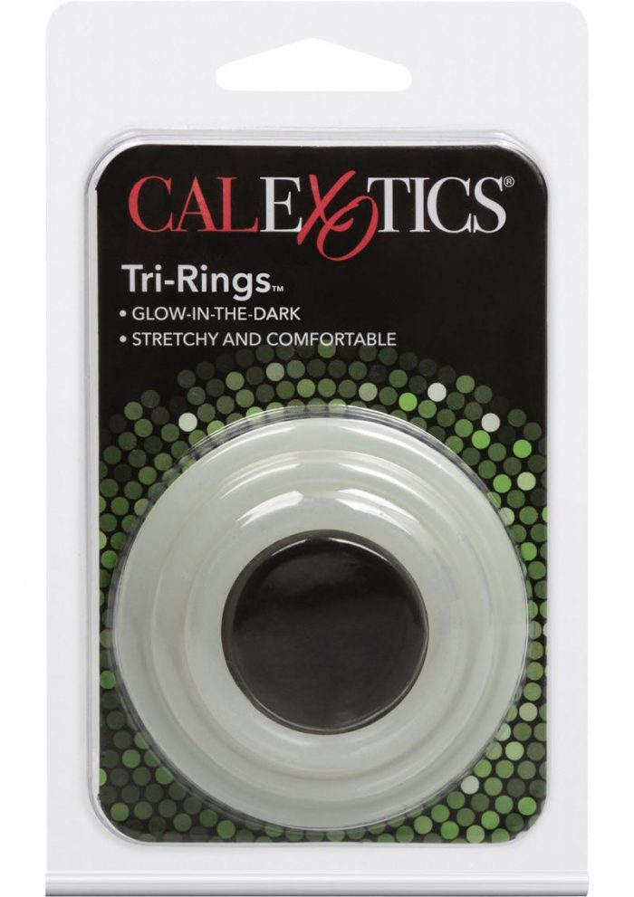 Tri Rings Glow In The Dark Cock Ring Set White