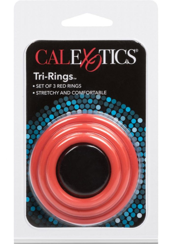 Tri Rings Red Cock Ring Set Red