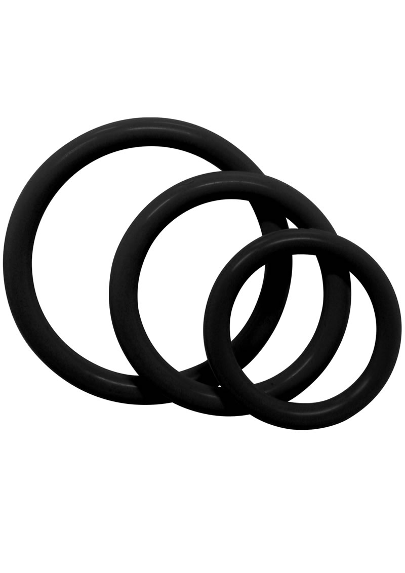 Tri Rings Black Cock Ring Set Black