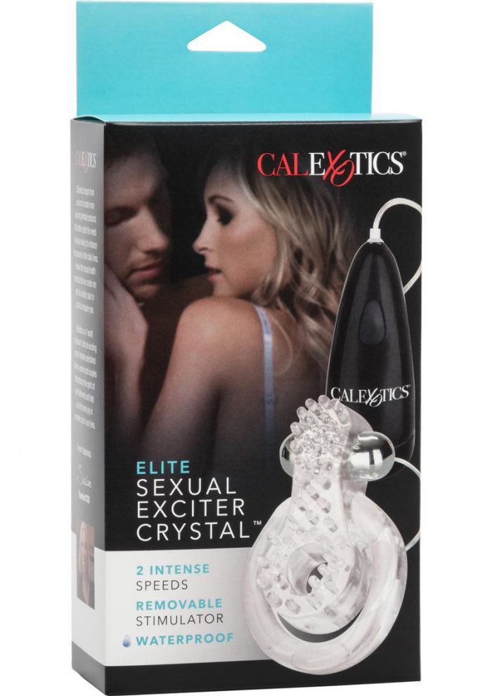 Elite Sexual Exciter Crystal Couples Ring With Wired Remote Control Waterproof Clear