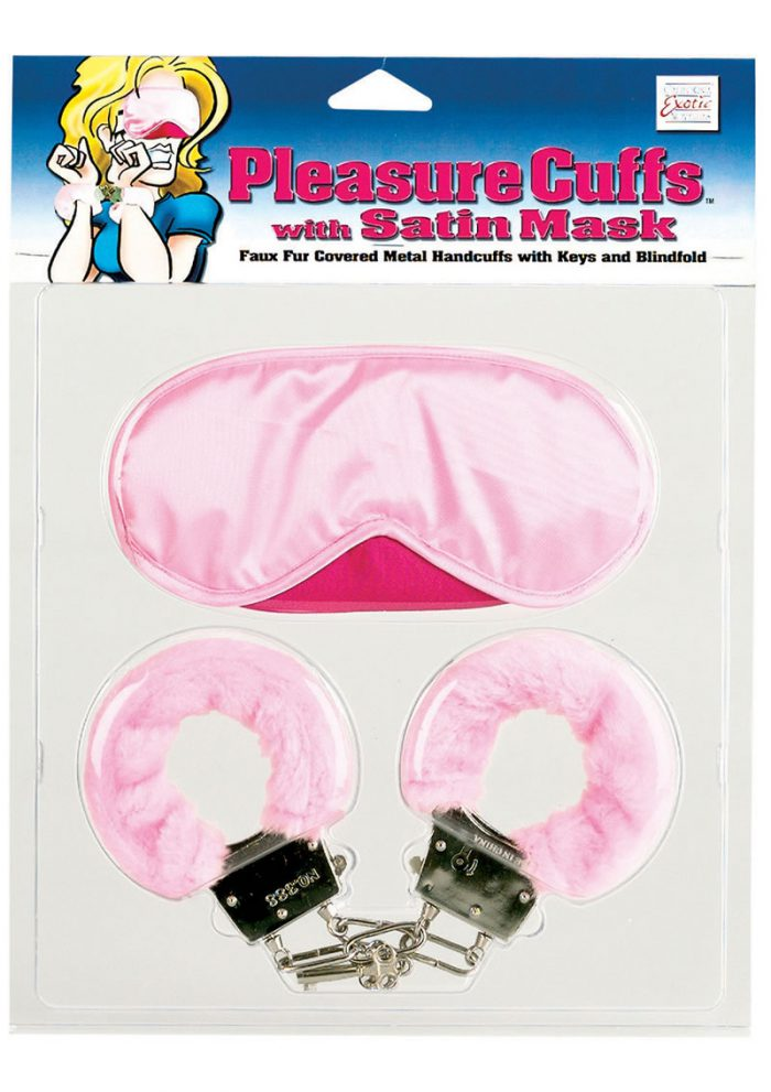 Pleasure Cuffs with Satin Mask Pink