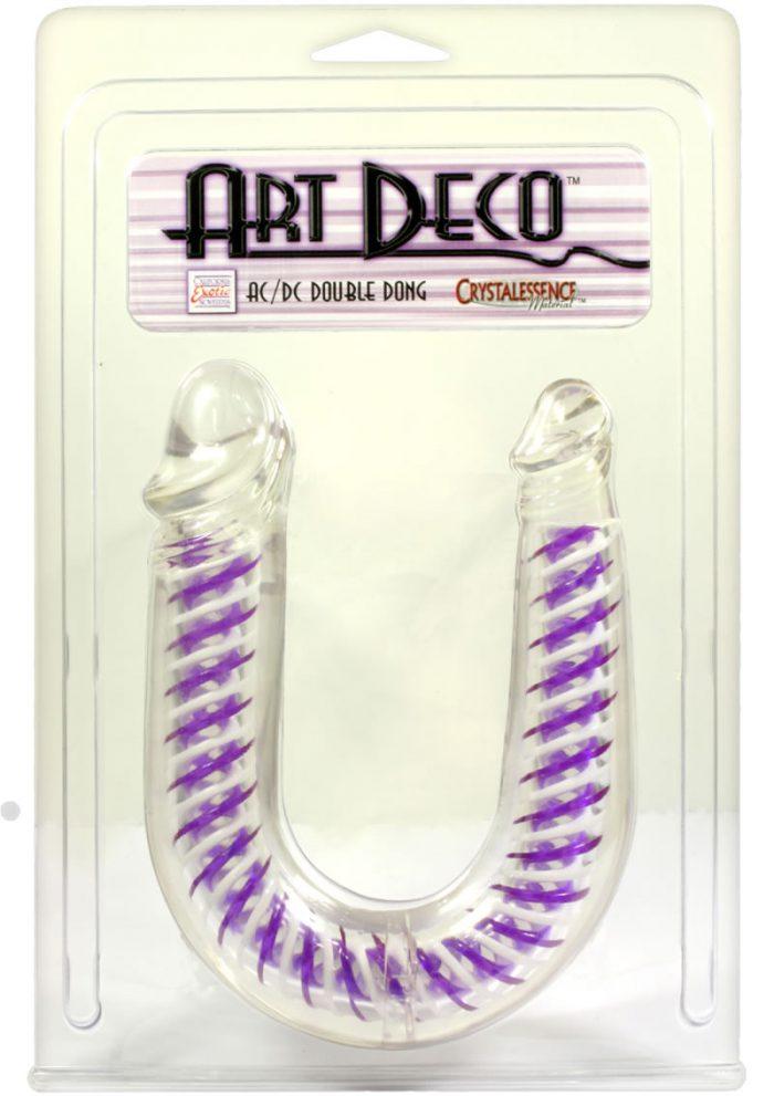 Art Deco AC DC Double Dong Waterproof 12.25 Inch Purple