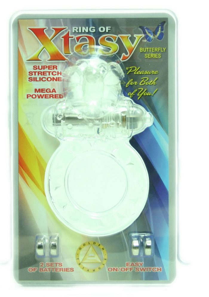 Ring Of Xtasy Butterfly Series Vibrating Silicone Cock Ring Clear