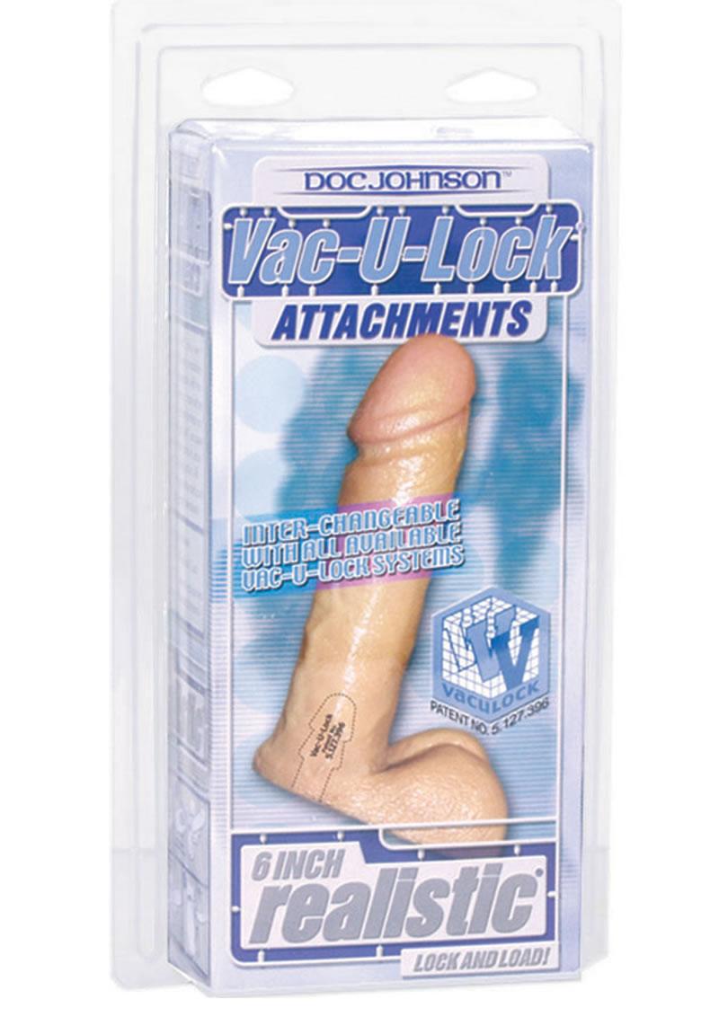 Vac U Lock Realistic Cock 6 Inch Flesh