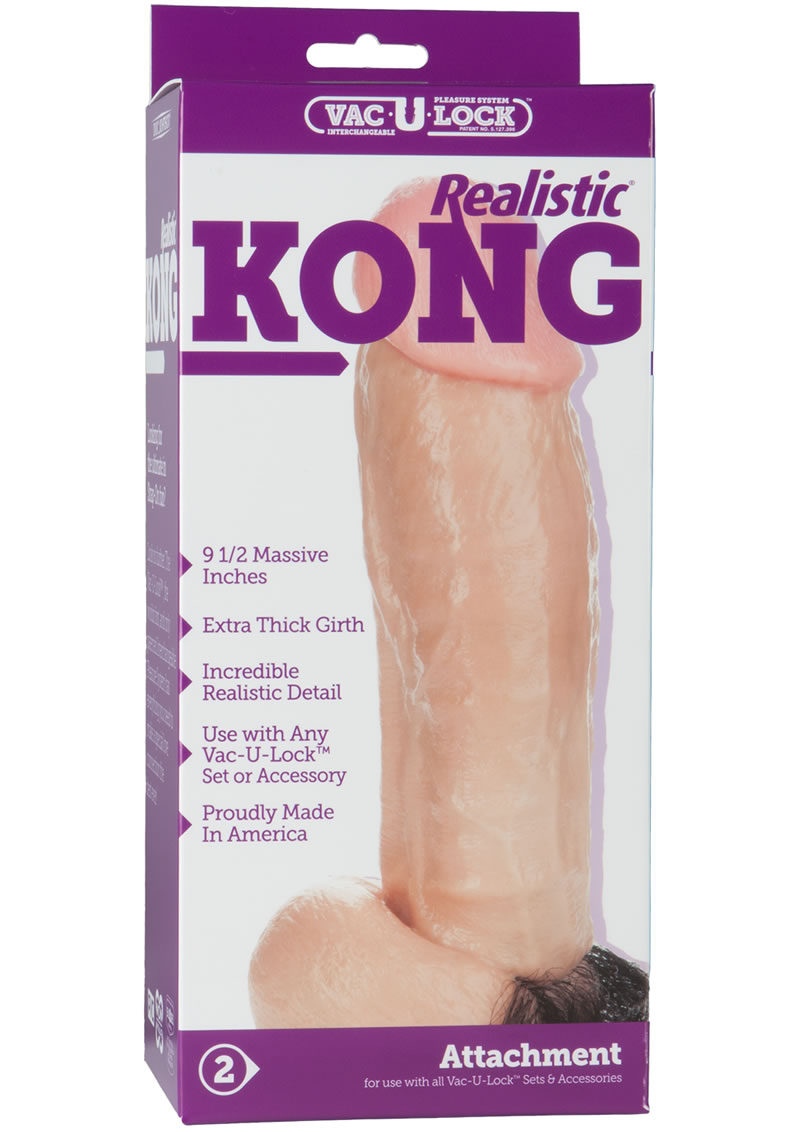 Vac U Lock Kong Realistic Cock With Hair Vanilla 9.5 Inch