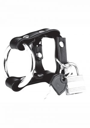 Blue Line C and B Gear Metal Cock Ring With Locking Ball Strap