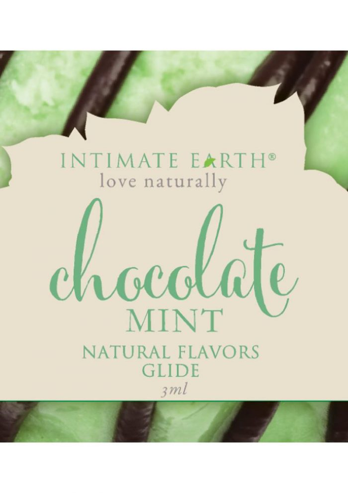 Intimate Earth Natural Flavors Glide Chocolate Mint 3 Milliliter Foil Pack