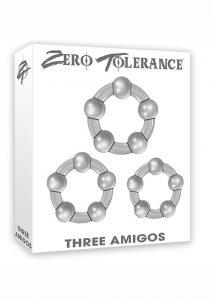 Zero Tolerance Three Amigos Beaded Cockrings Smoke 3 Each Per Set