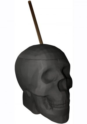Black Matte Skull Cup With Plastic Straw 22 Ounces