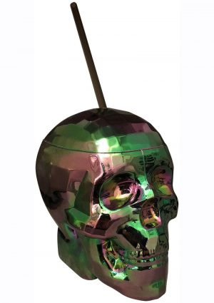 Oil Slick Disco Skull Cup With Plastic Straw Holds 22 Ounces