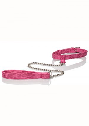 Tickle Me Pink Collar W/leash Adjustable