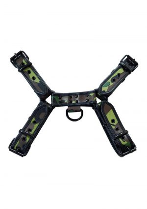 Rouge OTH-Front Harness Leather Camouflage With Black Piping And Black Buttons Large