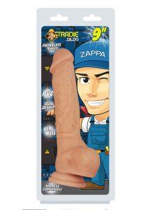 Tradie Zappa 9 Inch Dildo Non Vibrating Harness Compatible Suction Cup Base Flesh