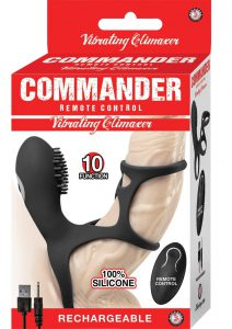 Commander Remote Control Vibrating Climaxer Silicone USB Rechargeable Clit Stimulating Cock Cage Waterproof Black 2.5 Inches