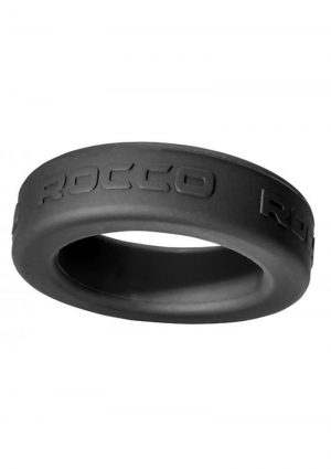 Rocco Steele Hard Silicone Cockring Black 1.75 Inches Inner Diameter
