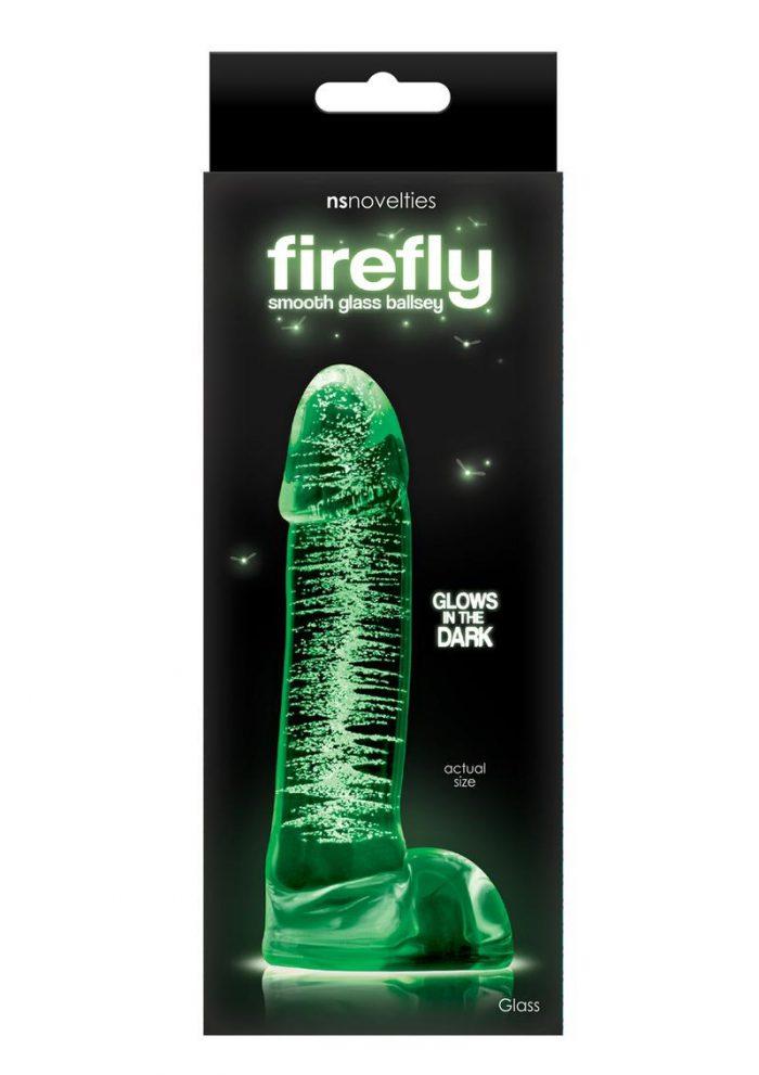 Firefly Smooth Glass Ballsey Dildo Glows in the Dark