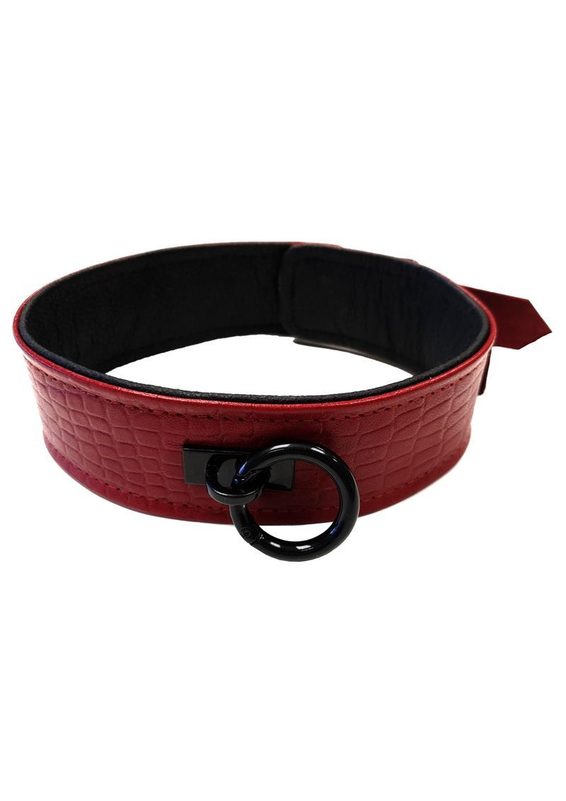 Rouge Anaconda Collar Burg/Black Leather Bondage