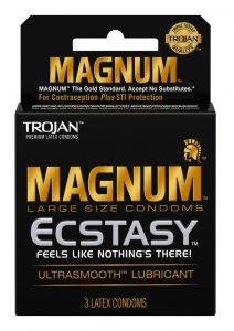 Trojan Magnum Ecstasy Ultra Smooth Lubricant Latex Condoms 3-Pack