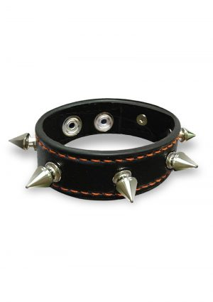 Orange is the New Black Spike Studded Leatherette Cock Ring  Snap Fastener Black