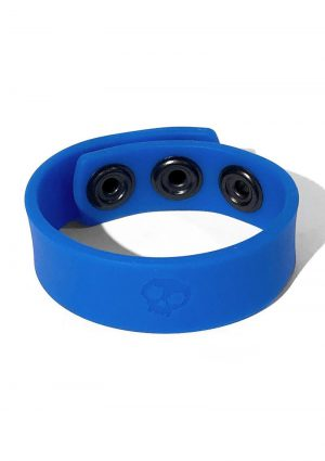 Boneyard Silicone Cock Strap 3 Snap Ring Blue