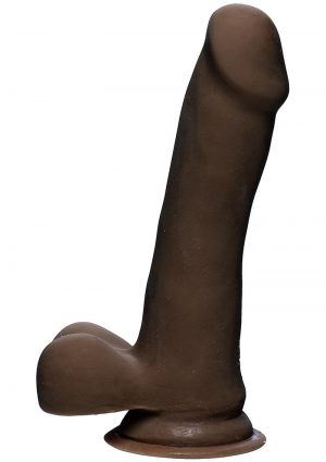 The D Slim D Ultraskyn Dildo with Balls 6.5in - Chocolate