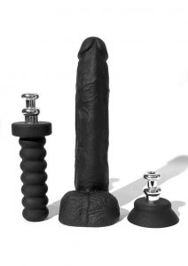 Bone Yard Cock Dildo With Silicone Handle or Suction Cup Base Attachment Black 10 Inches