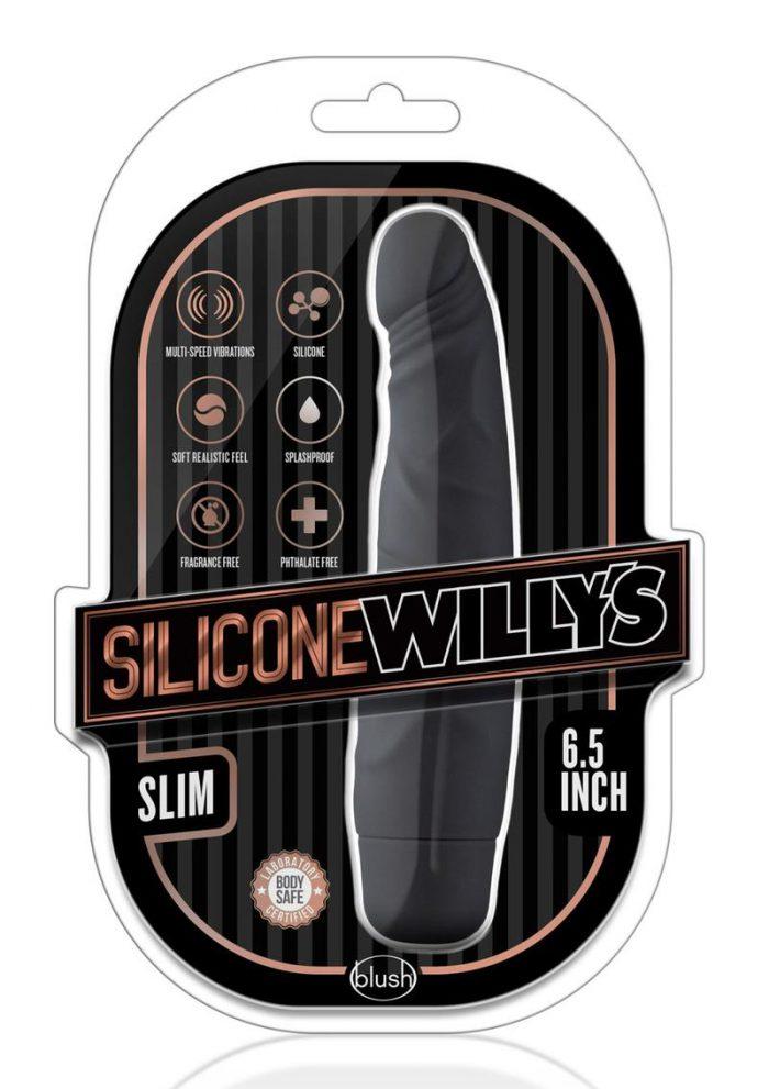 Silicone Willy`s Slim Vibrating Dildo 6.5in - Black