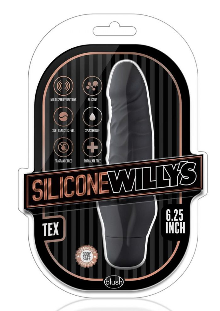 Silicone Willy`s Tex Vibrating Dildo 6.25in - Black