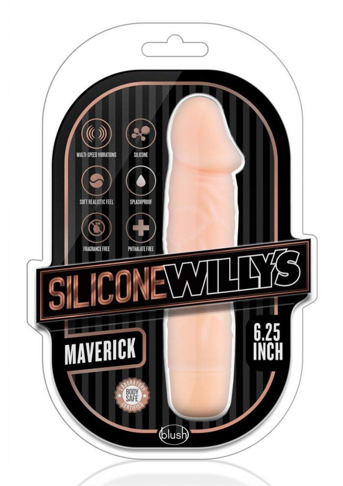 SIlicone Willy`s Maverick Vibrating Dildo 6.25in - Vanilla