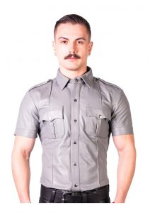 Prowler Red Slim Police Shirt Gry Xs