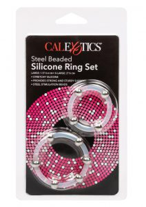 Steel Beaded Silicone Ring Set Large/XLarge Clear