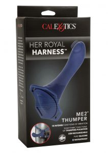Her Royal Harness ME2 Thumper Adjustable Straps Silicone USB Rechargeable Probe Waterproof Blue 5.5 Inches