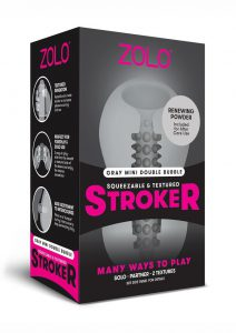 Zolo Squeezable and Textured Mini Double Bubble Male Masturbator Non Vibrating Grey