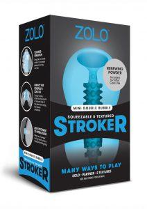 Zolo Squeezable and Textured Mini Double Bubble Male Masturbator Non Vibrating Blue