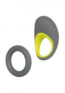 Link Up Max Silicone Cockring And Support Ring USB Rechargeable Grey/Yellow