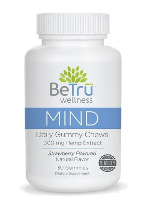 BeTru Wellness Mind Daily Gummy Chews 300mg Hemp Extract Strawberry Flavor 30ct