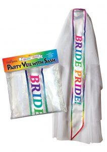 Bride Pride Party Veil With Sash White