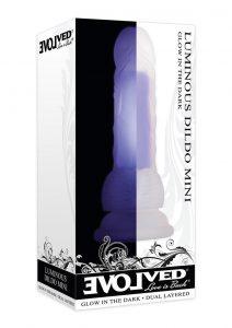 Luminous Mini Dildo With Balls - Purple