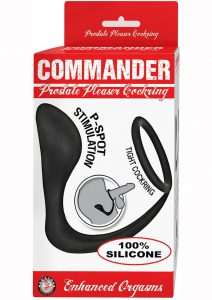 Commander Prostate Pleaser P-Spot Cock Ring With Anal Attachment -  Black