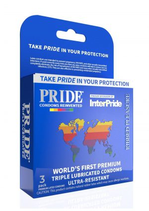 Pride Ribbed Pleasure Condoms 3pk