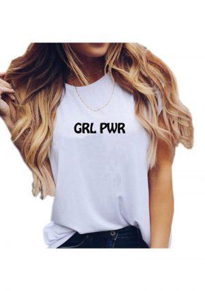 Grl Pwr White Tshirt Lg